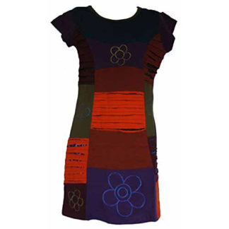 Fair Trade Ladies Nepal Patchwork Embroidered Rip Cotton Dress N57