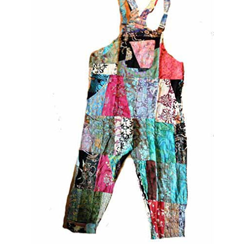 Fair Trade Indonesian Multicoloured Patchwork Hippy Festy Dungarees Trousers 510