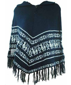 Fair Trade Womens 100% Alpaca Wool - Woollen Poncho With Collar From Bolivia (20