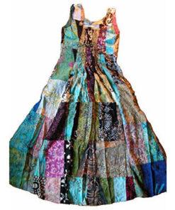 Fair Trade Indonesian Multicoloured Patchwork Hippy Festy Long Dress 404 Skirt