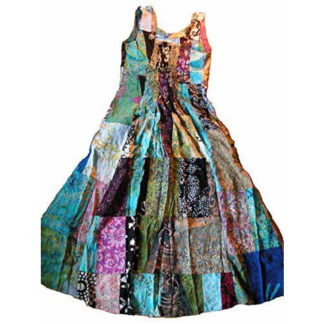 Fair Trade Indonesian Multicoloured Patchwork Hippy Festy Long Dress 404 Skirt