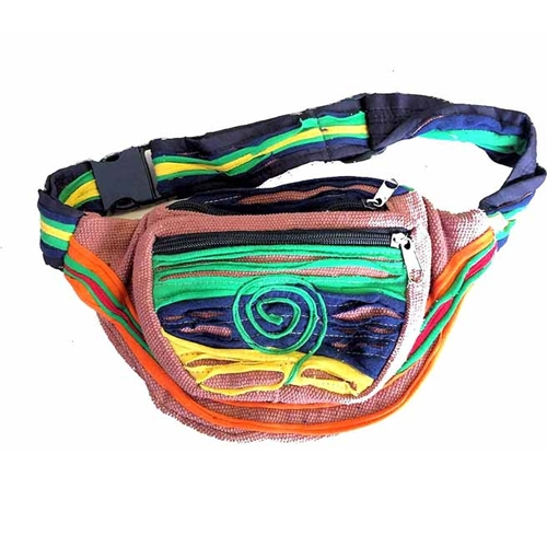 Fairtrade Bright Funky Brown Nepalese Bumbag / Wallet / Purse / Waist Pack 492N
