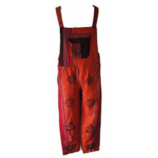 Fair Trade Patchwork Heavy Cotton Dungarees From Nepal By Terrapin (Orange)