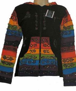 Womens Ladies Hooded Pixie Hippy Rainbow Festival Top (N91)
