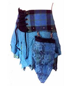 Genuine Scottish Tartan Designer Kilt Steam Punk Psytrance Skirt N1 Blue S/M 10