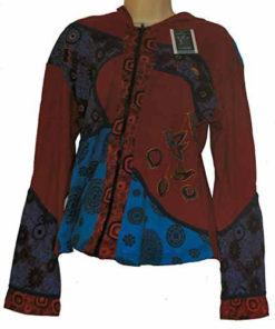 Womens Pixie Hooded Hippy Festival Top Embroidered Bird N88