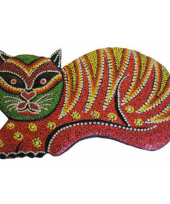 Fairtrade Wall Art Animal Wood Carving Hand Painted Cat 20Cm Ornament 804