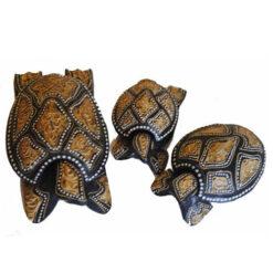 Balinese Set O 3 Turtles Sea Tea Light Holder Ashtray Trinket Box Ornament 811