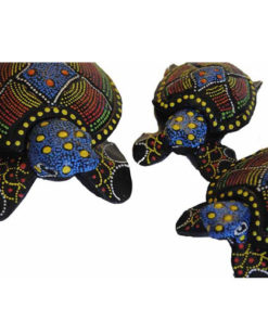Balinese Set 3 Turtles Sea Tea Light Holder Trinket Box Ornament 811(Bright)