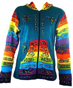 Womens Ladies Hooded Pixie Hippy Rainbow Festival Top (N91Sky/Aqua)