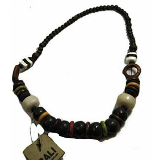 Fair Trade Balinese Chunky Large Size Wood & Resin Bead Necklace 85cm / 40cm