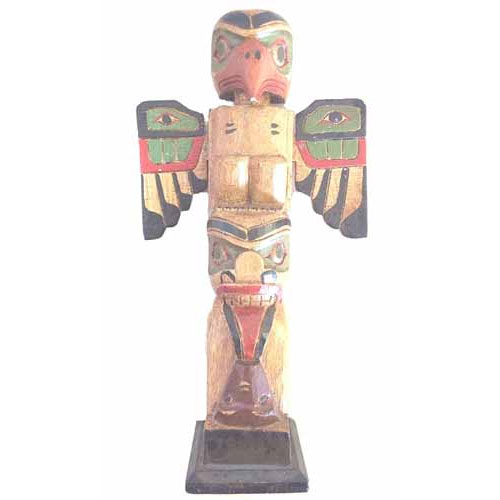 Fair Trade Native American Aba Wood Totem Pole 30Cm