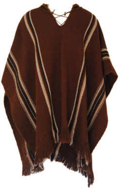 Fairtrade Alpaca Wool Mens Bolivian Hooded Poncho Shawl Festival Coat 352 Brown