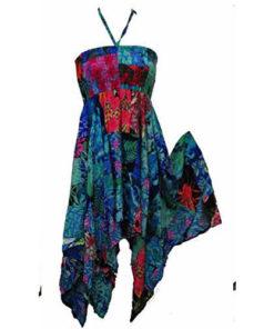 Women Patchwork Hippy Festival Multicoloured Halter-Neck Dress Skirt Onesize Ema
