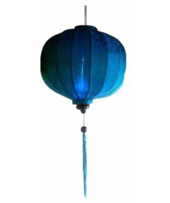 "Vietnamese Oriental Silk & Bamboo Handcrafted Lantern Lamp Chinese Blue 20"" L V1"