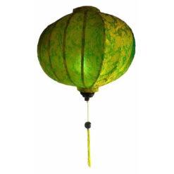 "Vietnamese Oriental Silk & Bamboo Handcrafted Lantern Lamp Chinese Green 20"" L V1"
