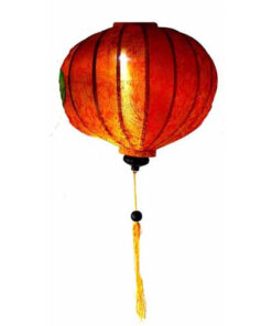 "Vietnamese Oriental Silk Bamboo Handcrafted Lantern Lamp Chinese Orange 20"" L V1"