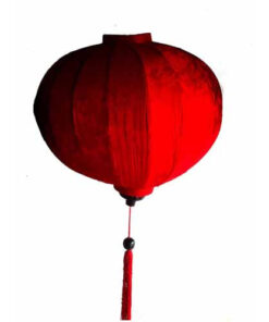 "Vietnamese Oriental Silk & Bamboo Handcrafted Lantern Lamp Chinese Red 20"" L V1"