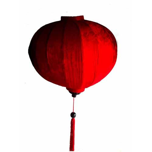 """Vietnamese Oriental Silk & Bamboo Handcrafted Lantern Lamp Chinese Red 20"""" L V1"""