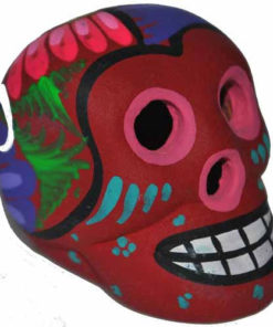 Day Of The Dead Eathenware Clay Hand Painted Mini Skull Dia De Los Muertos