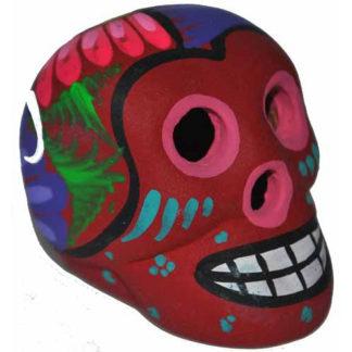Day Of The Dead Eathenware Clay Hand Painted Mini Skull Dia De Los Muertos