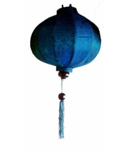 "Vietnamese Oriental Silk Bamboo Handcrafted Lantern Lamp Chinese Blue 14"" Med V2"