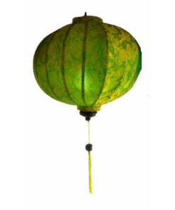 "Vietnamese Oriental Silk Bamboo Handcrafted Lantern Lamp Chinese Green 14"" M V2"