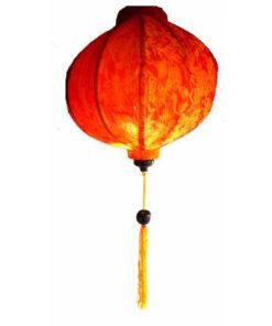 "Vietnamese Oriental Silk Bamboo Handcrafted Lantern Lamp Chinese Orange 14"" M V2"