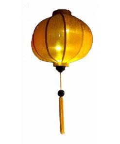 "Vietnamese Oriental Silk Bamboo Handcrafted Lantern Lamp Chinese Yellow 14"" M V2"