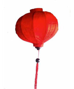 "Vietnamese Oriental Silk Bamboo Handcrafted Lantern Lamp Chinese Red 14"" Med V2"