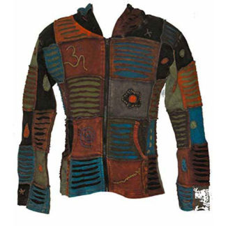 Fair Trade Mens Nepal Hippy Patchwork Om Rip Cotton Hooded Top N.93