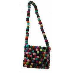 Fairtrade Multicoloured Bright Funky Hippy Wool Felt Ball Shoulder Bag Nepal N01