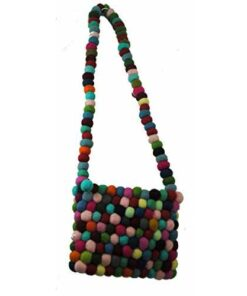 Fairtrade Multicoloured Bright Funky Hippy Wool Felt Ball Shoulder Bag Nepal N01