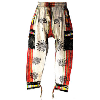 Fair Trade Nepal Thick Cotton Hippy Trousers With Real Patches N32(Brg)