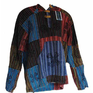 Fair Trade Mens Nepal Hippy Patchwork Trippy Cotton Hooded Top / Shirt (N33)