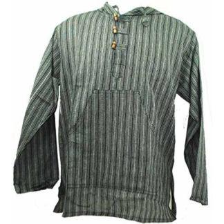 Fair Trade Mens Nepal Hippy Patchwork Trippy Cotton Hooded Top / Shirt (N33Bw)