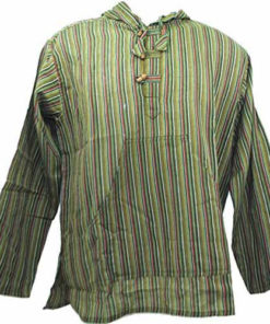 Fair Trade Mens Nepal Hippy Patchwork Trippy Cotton Hooded Top / Shirt (N33Green