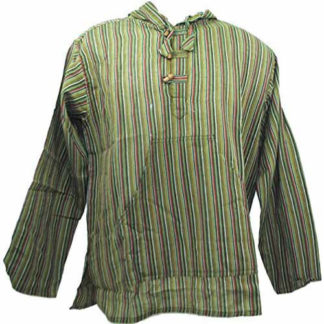 Fair Trade Mens Nepal Hippy Patchwork Trippy Cotton Hooded Top / Shirt (N33Green