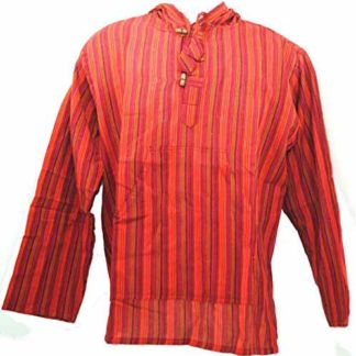 Fair Trade Mens Nepal Hippy Patchwork Trippy Cotton Hooded Top / Shirt (N33Red)