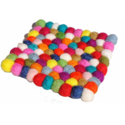 Wool Felt Ball Nepal Handmade Colourful Bright Contemporary Drink Coaster Mat N4