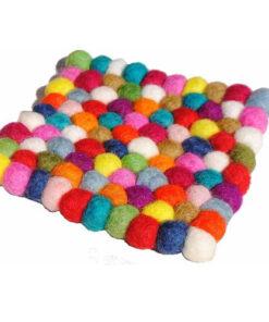 Wool Felt Ball Nepal Handmade Colourful Bright Contemporary Drink Coaster Mat N4