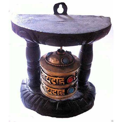 Handmade Nepal Tibetan Wall Prayer Wheel Wood Mantra N47