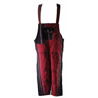 Fair Trade Patchwork Heavy Cotton Dungarees From Nepal By Terrapin (Red)
