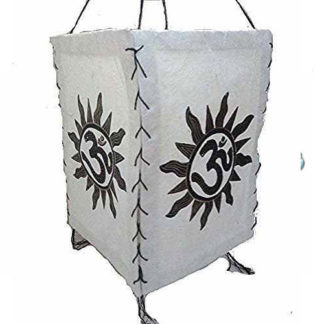 Natural Lokta Om Sun Power Lamp Shade Nepal-Handmade Hanging Lampshade