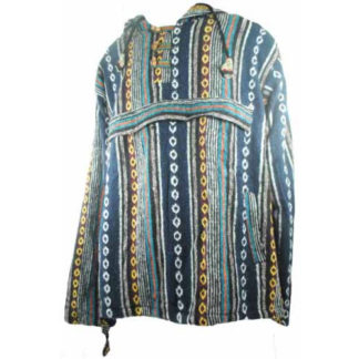 Fair Trade Mens Cotton Polar Lined Gheri Jumper / Hooded Top From Nepal (Blue)