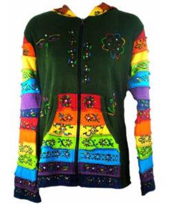Womens Ladies Hooded Pixie Hippy Rainbow Festival Top (N91Green)