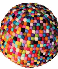 Fairtrade Nepalese Felt Wool Multicoloured Pouffe Footstool N98 Beanbag Unstuffd