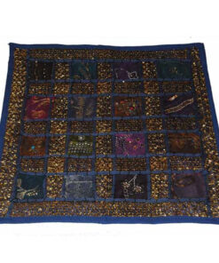 Ethical Floral Hippy Funky Rajesthani India Embroidered Cushion Cover Rj2 Blue