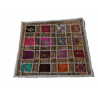 Ethical Floral Hippy Funky Rajesthani India Embroidered Cushion Cover Rj2 White