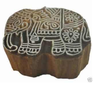 Genuine Vintage Rajathani India Block Press Block - Elephant (Raj4)